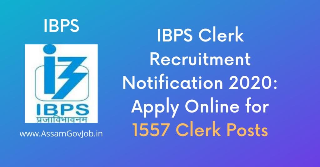 IBPS Clerk Recruitment Notification 2020