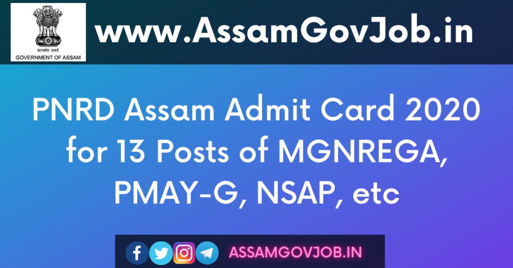 PNRD Assam Admit Card 2020