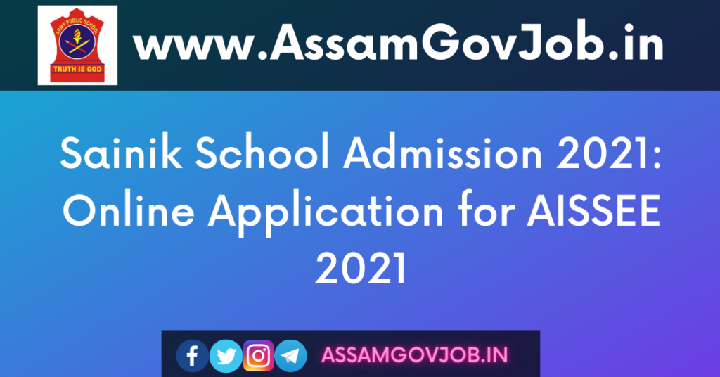 Sainik School Admission 2021-Online Application for AISSEE 2021