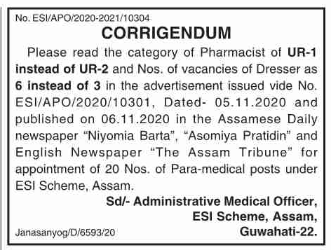 ESI Scheme Assam Recruitment 2020