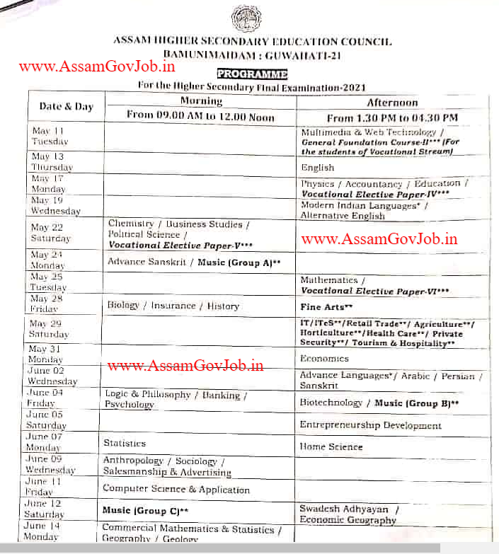Assam AHSEC HS 2nd Year Official Routine 2021